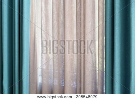 Beautiful colorful curtains, closeup