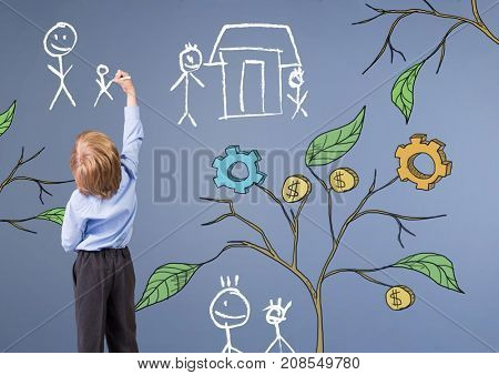 Digital composite of Child holding pen and Drawing of Business graphics on plant branches on wall and family sketches
