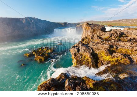 Scenic image of powerful Godafoss cascade daytime. Location Bardardalur valley, Skjalfandafljot river, Iceland, Europe. Great picture of wild area. Excellent wallpapers. Discover the beauty of earth.