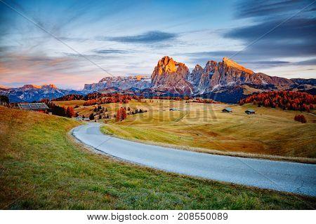 Scenic image of bright hills. Location Dolomiti alps, Compaccio, Seiser Alm or Alpe di Siusi, Bolzano province, South Tyrol, Italy, Europe, Great picture of wild area. Explore the beauty of earth.
