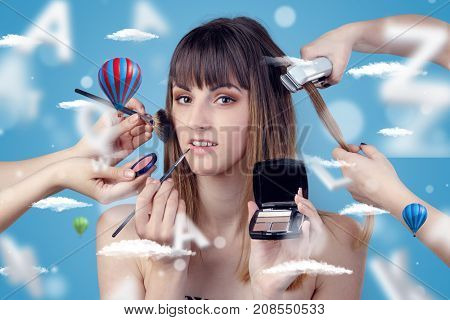 Young brunette woman smiling at hairdresser with clouds and air balloons around