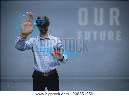 Digital composite of man in shirt with vr future