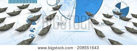 Digital composite of Group of dollar money Paper boats on charts