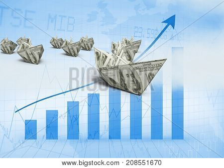 Digital composite of Paper dollar money boats with bar charts