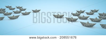 Digital composite of Paper money dollar boats with blue background