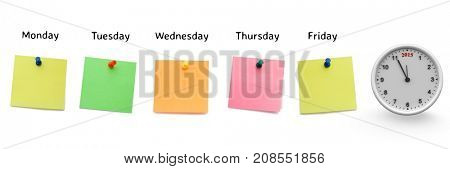 Digital composite of sticky notes with clock