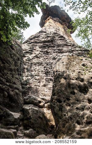 well-known sandstone rock formation named Poklicky near Kokorin castle in CHKO Kokorinsko in Central Bohemia in Czech republic