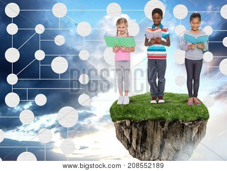 Digital composite of Young kids on floating rock platform  in sky reading books with connectors mind map interface