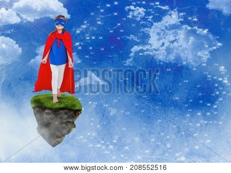 Digital composite of Young Girl superhero on floating rock platform  in sky with connectors interface
