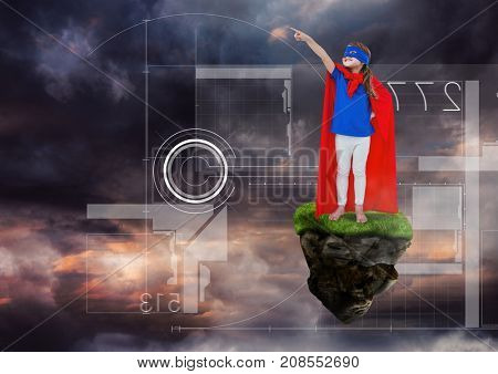 Digital composite of Young Girl superhero on floating rock platform  in sky with interface