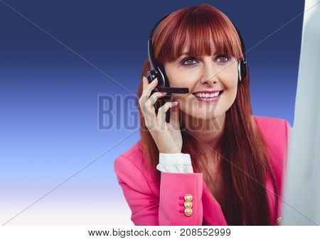 Digital composite of Customer care service woman with purple background