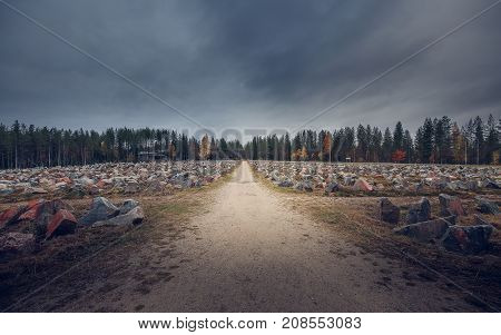 War memorial site in northern Finland on a moody day.