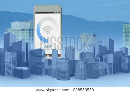 Three dimensional image of modern buildings against buildings in city against blue sky