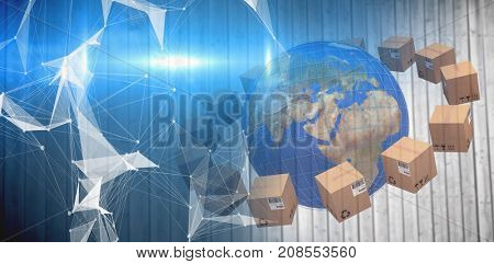Planet earth amidst boxes against digitally generated image of abstract pattern on screen