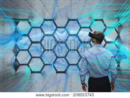 Digital composite of Man with vr in space room