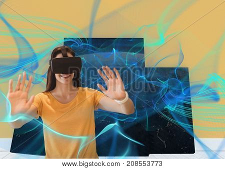 Digital composite of Smiling woman with vr headset