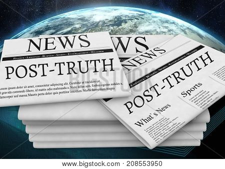 Digital composite of Post-truth text on newspapers stacked over planet earth world
