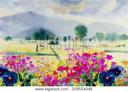 Watercolor landscape original painting colorful of wildflowers with farmer cornfield in spring mountain and emotion in blue sky background. Painted Impressionist abstract image.