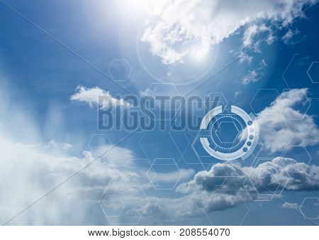 Digital composite of Sky clouds with graphics of interfaces