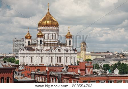 The Cathedral of Christ the Savior. An unusual view of the Cathedral of Christ the Savior
