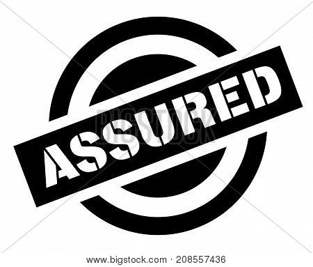 ASSURED sticker. Authentic design graphic stamp. Original series