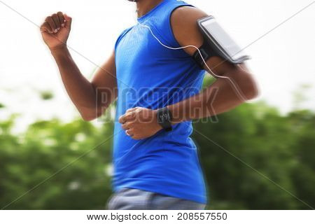 A man jogging in the park