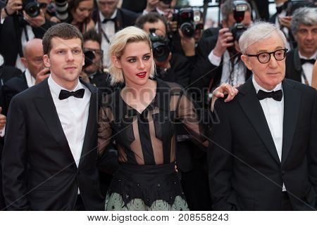 CANNES, FRANCE - MAY 11: J. Eisenberg, K. Stewart, W. Allen attend the 'Cafe Society' premiere and the Opening Night Gala. 69th Cannes Film Festival on May 11, 2016 in Cannes