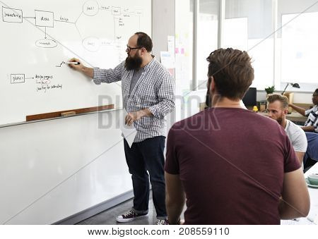 Startup business people having a meeting
