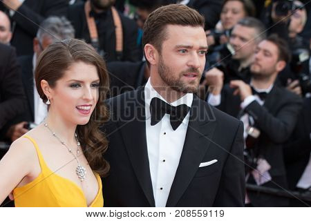 CANNES, FRANCE - MAY 11, 2016: Justin Timberlake, Anna Kendrick attend the 'Cafe Society' premiere and the Opening Night Gala. 69th annual Cannes Film Festival at the Palais des Festivals.