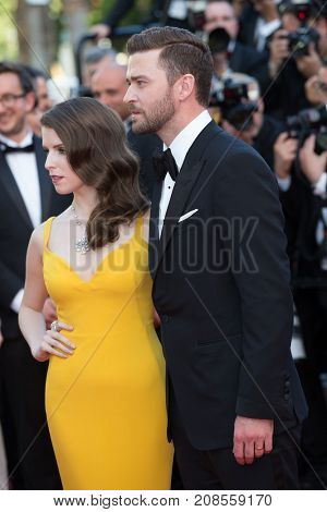 CANNES, FRANCE - MAY 11, 2016 : J. Timberlake, Anna Kendrick attends the 'Cafe Society' premiere and the Opening Night Gala. 69th annual Cannes Film Festival at the Palais des Festivals