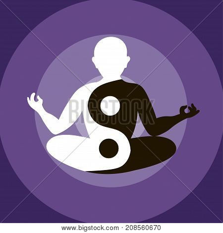 Man Silhouette Sitting And Meditating In Yoga Pose With The Sign Of Yin Yang