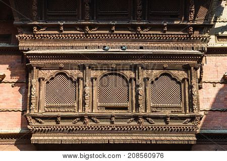 Very old wooden Nepalese window called Ankhi jhyal