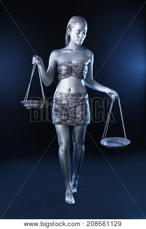 Beautiful young woman with amazing bodyart as Libra on dark background. Zodiac signs concept
