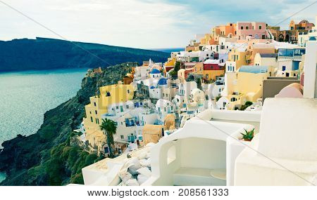 Architecture of Oia city on Santorini island, Greece