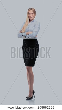 Young smiling businesswoman isolated on white