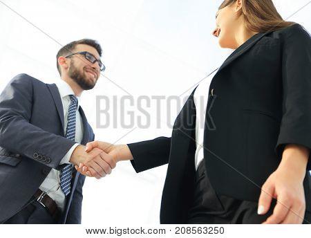 Business partnership meeting concept. Image businessmans handsha