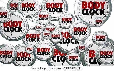 Body Clock Biological Time Countdown Flying Deadline 3d Illustration