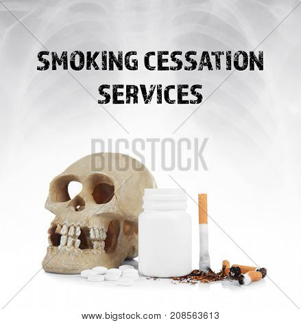 Text SMOKING CESSATION SERVICES, skull, damaged cigarettes and pills on light background