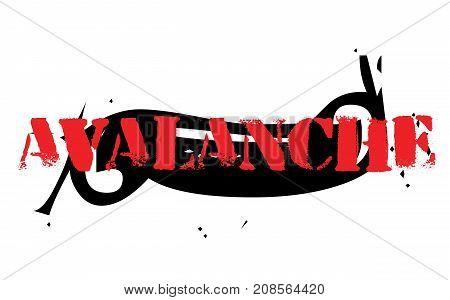 AVALANCHE sticker. Authentic design graphic stamp. Original series
