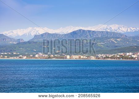 Coastline of Kissamos town on Crete with Samaria mountains, Greece