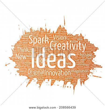Conceptual creative idea brainstorming paint brush word cloud isolated background. Collage of spark creativity original, innovation vision, think, achievement or smart genius concept