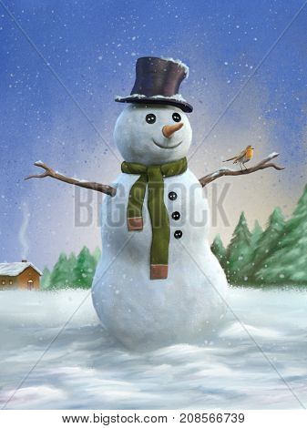 Snowman and robin in a winter landscape. Digital illustration.