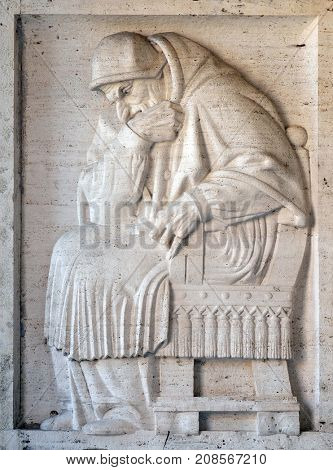 ROME, ITALY - SEPTEMBER 03: Pope Sixtus V bass relief by Ivan Mestrovic, San Girolamo dei Croati church in Rome, Italy  on September 03, 2016.