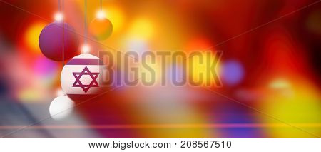 Israel flag on Xmas ball. Christmas background corner design element featuring white bubbles. Blurred and abstract.