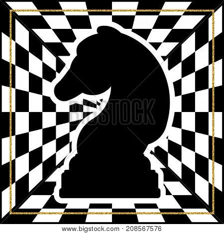 Chessboard with a chess piece Knight and a gold frame. Traditional Christmas holiday game.