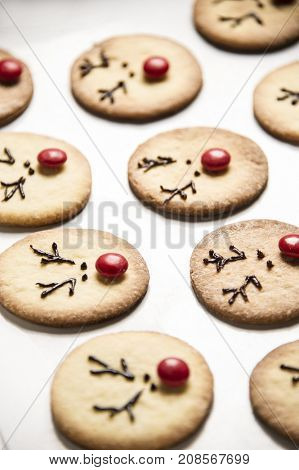 Reindeer cookies with candy red nose on a baking paper. Christmas concept.
