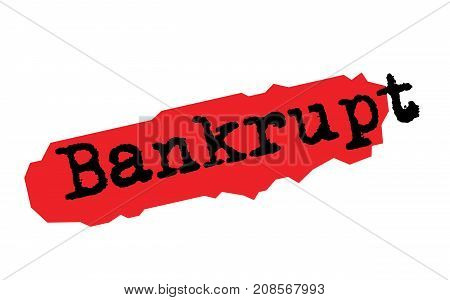 BANKRUPT sticker. Authentic design graphic stamp. Original series