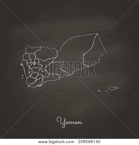 Yemen Region Map: Hand Drawn With White Chalk On School Blackboard Texture. Detailed Map Of Yemen Re
