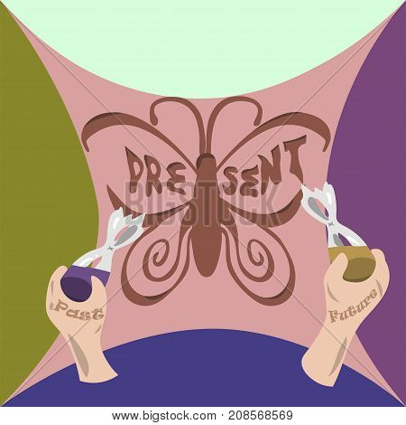Paint your present. Beautiful butterfly painting. Life past and future concept illustration vector.
