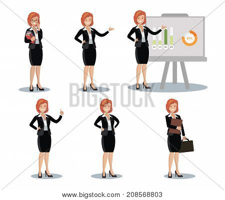 Business women set of symbols in different poses at work. Flat design.